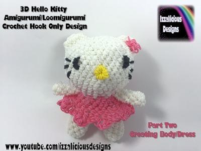 Rainbow Loom 3D Hello Kitty Amigurumi.Loomigurumi Body - PART TWO - Hook Only Loomless (loom-less)