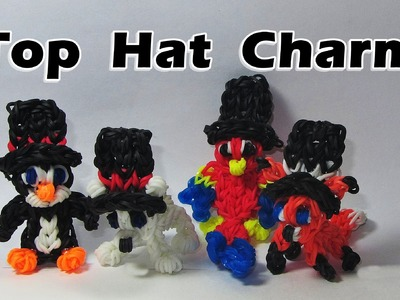 Rainbow Loom (EASY): TOP HAT Charm ( 3D - can be worn by other charms): Tutorial (DIY Mommy)
