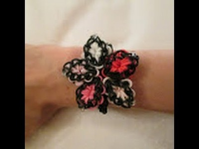 Rainbow Loom- How to Make a Quilted Hibiscus Bracelet (Variation of the Hibiscus Bracelet)