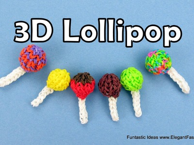 Rainbow loom Lollipop 3D Charms - How to - Food Series