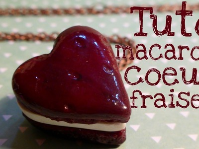 Strawberry Heart Shaped Macaroon l Polymer clay Fimo miniature tutorial