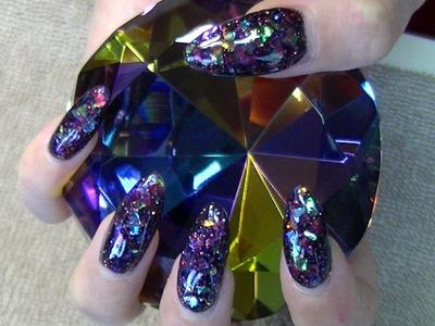 Black glitter stiletto nails tutorial