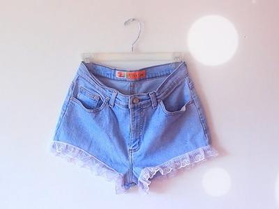 DIY High Waisted Lace Trim Shorts #DIYGawd
