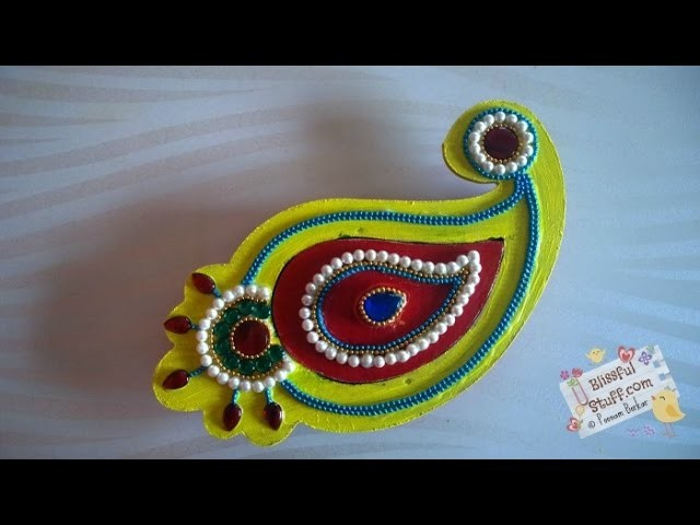DIY How to decorate paisley shaped wooden kumkum box, haldi kumkum box. dibbi with kundan work