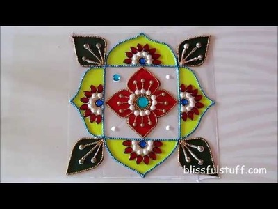 DIY - Kundan rangoli painted with acrylic colors, Creative kundan rangoli design