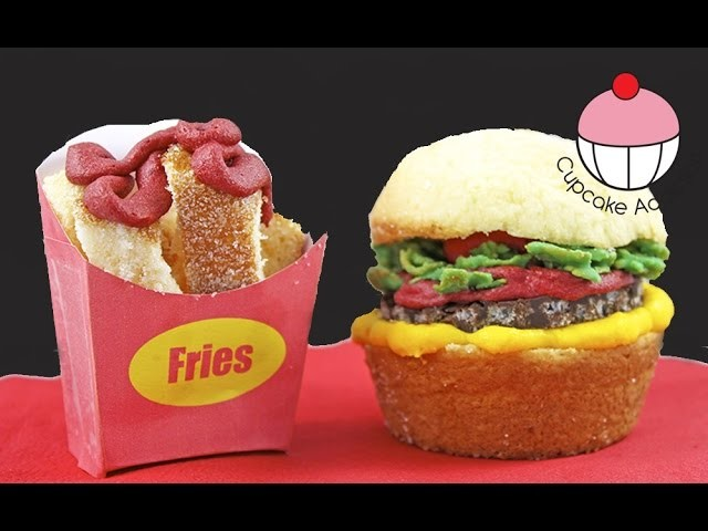Fast Food Cupcakes! How to make Burger Cupcakes with Cupcake Fries