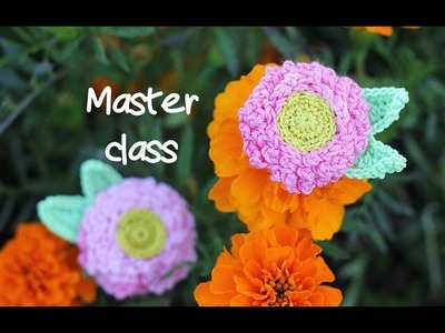 "Master class on knitting ""Daisy""(flower) with crochet"
