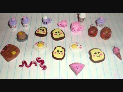 Polymer Clay Kawaii Charms!  Kawaii toast, bubble tea, rilakkuma