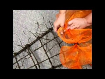 Wide Mesh Ribbon Easter Carrot Wreath - Trees n Trends