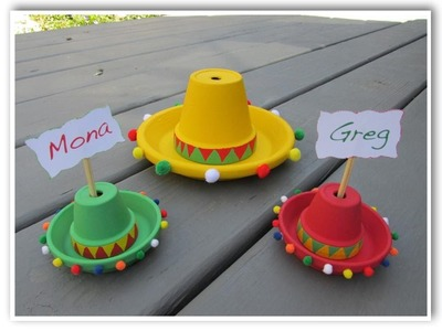 DIY Cinco De Mayo Candy Filled Sombreros Placecards and Centerpiece Table Decor   Make Something Mon