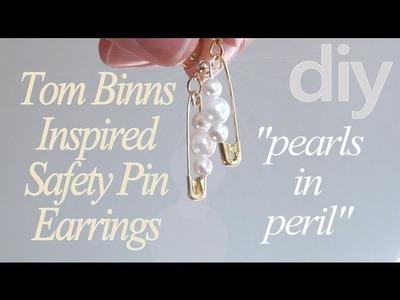DIY Fashion ♥ Tom Binns Pearls In Peril Inspired Safety Pin Earrings