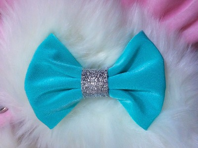 DIY- How to make Frozen movie inspired Fabric bow hair clip for Elsa.