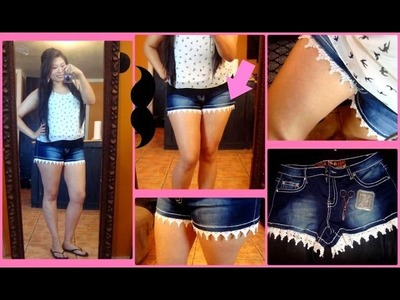 DIY Lace Trim Denim Shorts(No Sew) 2014