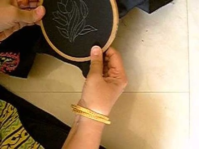 How to put the frame.hoop on the fabric for hand embroidery
