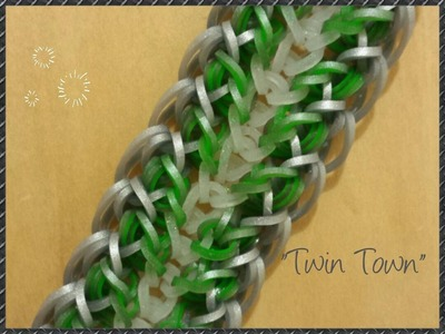 "New ""Twin Town"" Hook Only Rainbow Loom Bracelet.How To Tutorial"
