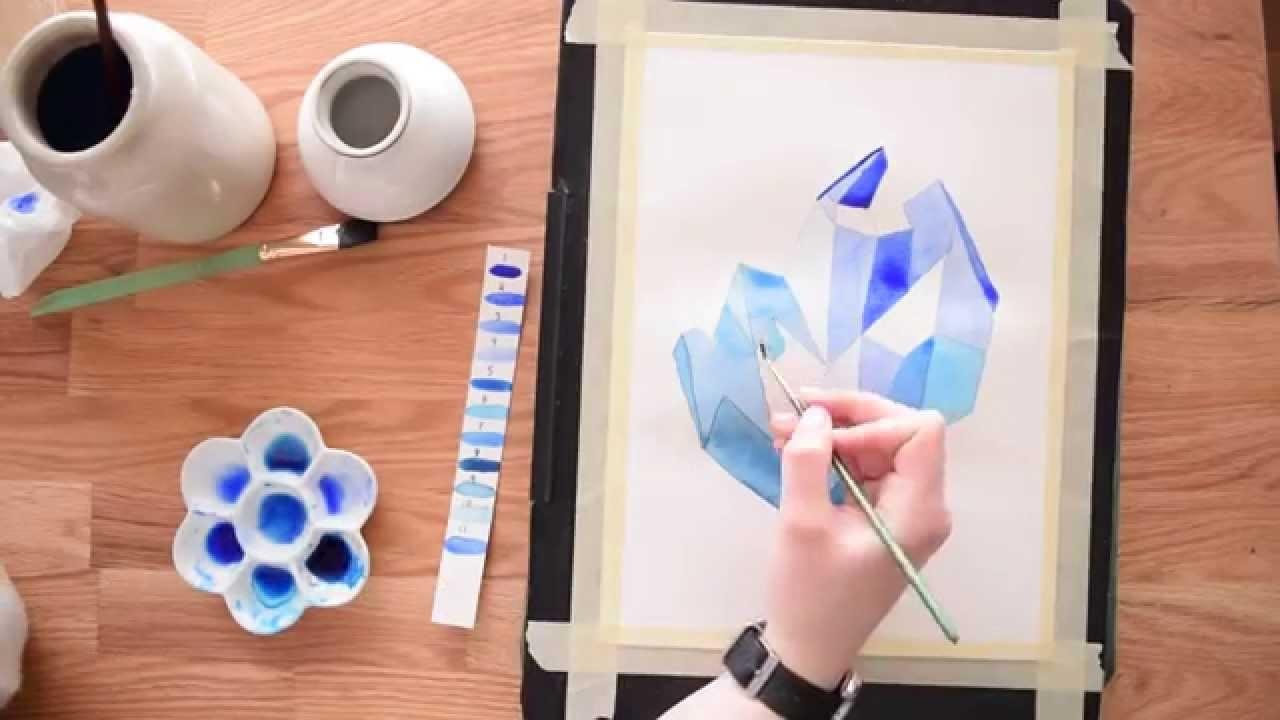 Paint a Crystal Cluster in Watercolor ~ Beginner's tutorial