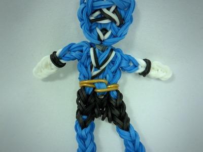 Rainbow Loom Blue Power Ranger Action Figure.Charm Tutorial