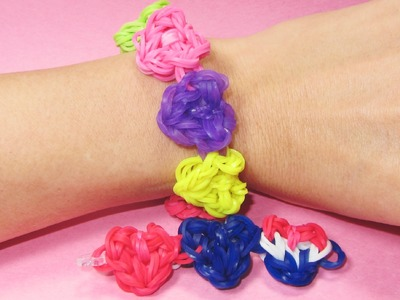 Rainbow Loom HEART CHARM Bracelet for VALENTINE'S DAY Design. Tutorial