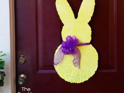 Sugary Peep Bunny Front Door Easter Spring Door Decor Tutorial with GLITTER!