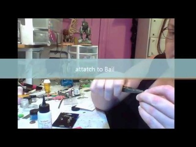 How to make Rubber stamp tile pendant with Polymer clay
