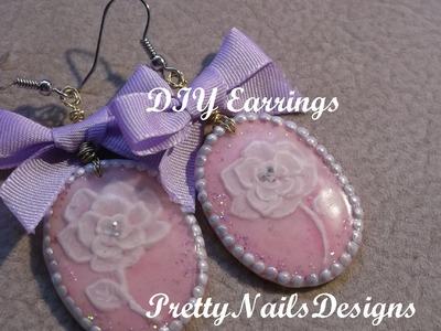 Pink Vintage 3D Rose Cameo DIY Acrylic Earrings