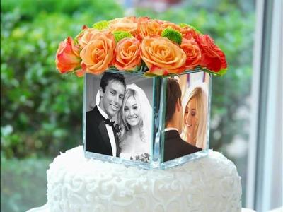Square Glass Photo Vase & Cake Topper