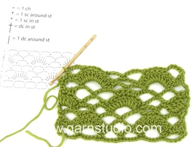 DROPS Crocheting Tutorial: Different between work in and around stitches.