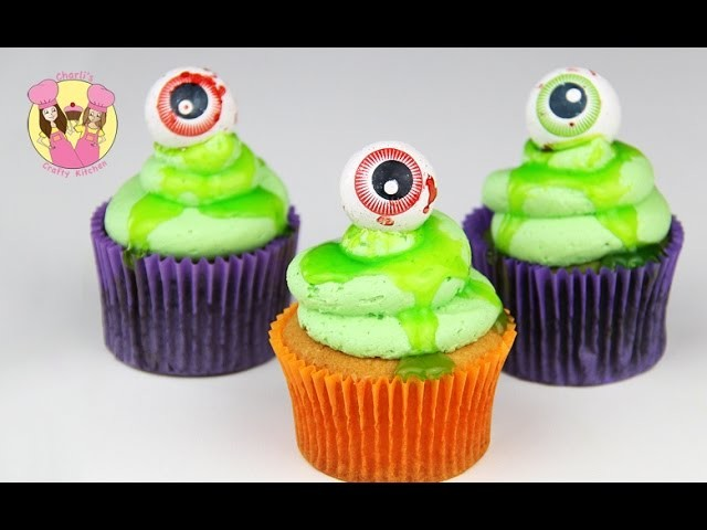 HALLOWEEN MONSTER CUPCAKES - slimy monsters for your party - or friday 13th