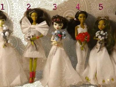 Toilet Paper wedding dresses for dolls :-)