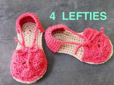 WATCH How To Crochet Espadrille Top & Heel - part 2 of 2  (4 Lefties)