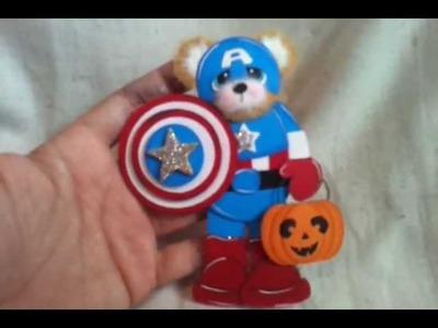 Captain america tear bear halloween costume paper piecing