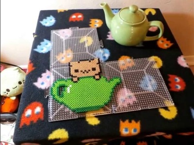 Cute Tea Cup Kitty Perler Bead ~  Happy Anniversary The 8~Bit Cafe