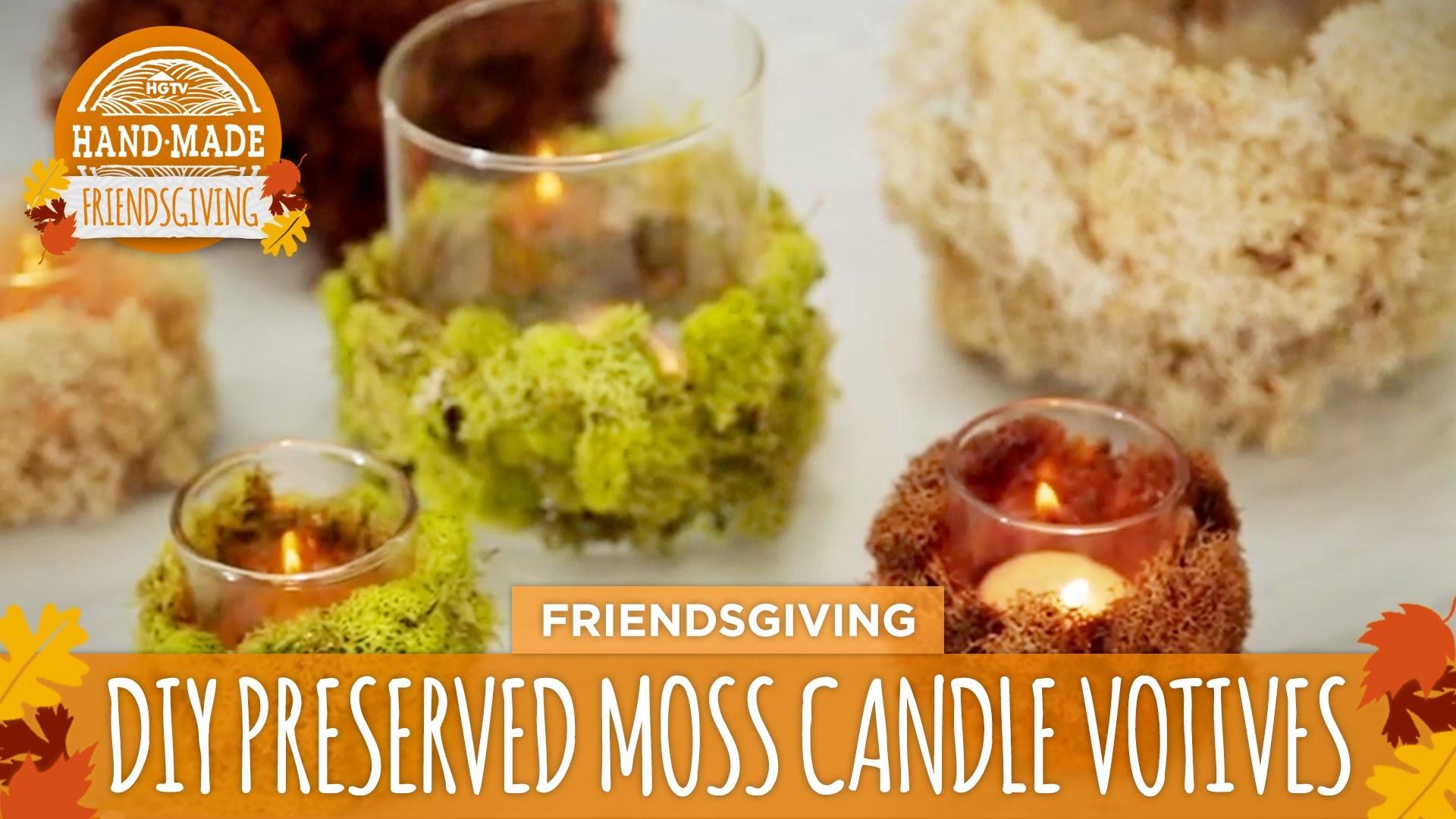 DIY Preserved Moss Candle Votives - HGTV Friendsgiving