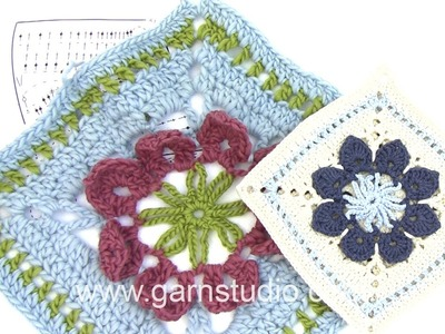 DROPS Crocheting Tutorial: How to work a pot holder with flower squares.