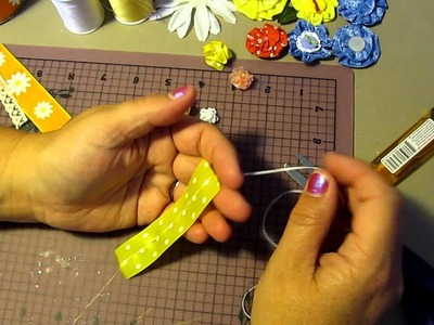 Tutorial~How To Make A Center Stitch Ribbon Flower ~ So Cute