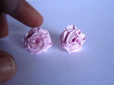 Handmade Jewelry - Paper Ribbon Rose Studs