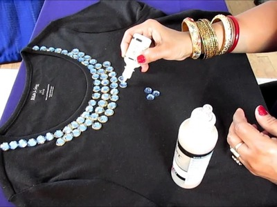 HOW TO CREATE NECKLACE ON YOUR T-SHIRT WITH RHINESTONES.