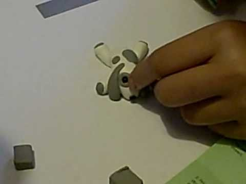 How to make a white with gray spots dog from polymer clay PART 4!!!! for dollhouses or decor
