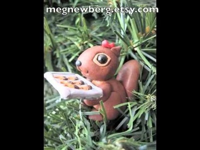 Polymer clay squirrels christmas wreath figurines .m4v