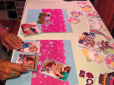 2 page 12x12 baby girl scrapbook layout