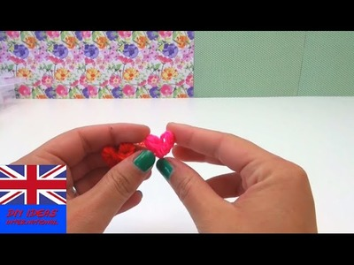 Lovely heart loom band charms key chain Tutorial - DIY Tutorial heart loom band elastic
