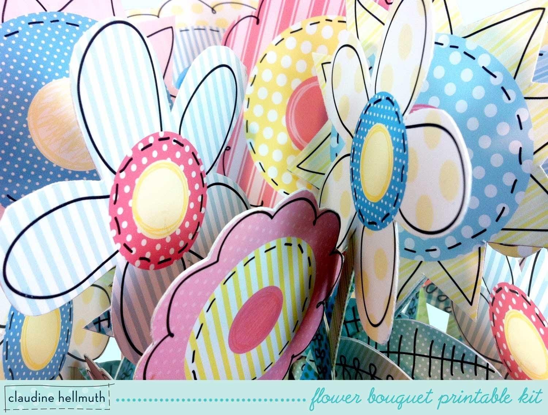 Make a folk art whimsical paper flower bouquet printable kit