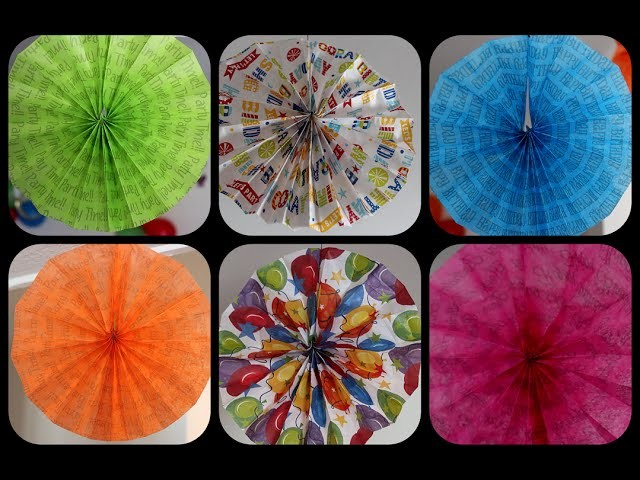 How to make hanging fans with tissue paper sheets   Birthdays decoration   Parties decoration