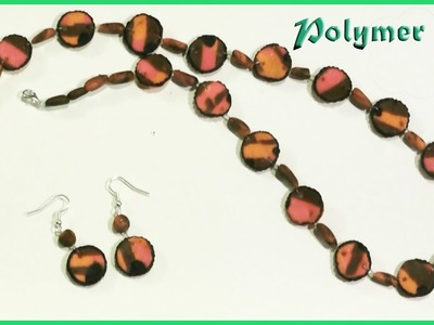 Polymer clay tutorial.How to Make  Jewellery  NECKLACE and EARRINGS