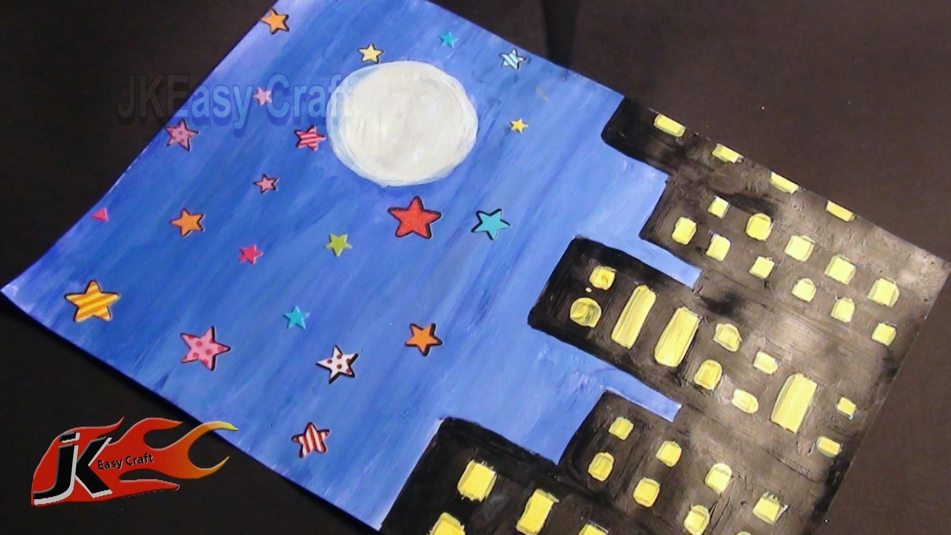 Draw Night scene | School Project  For Kids | JK Easy Craft 017