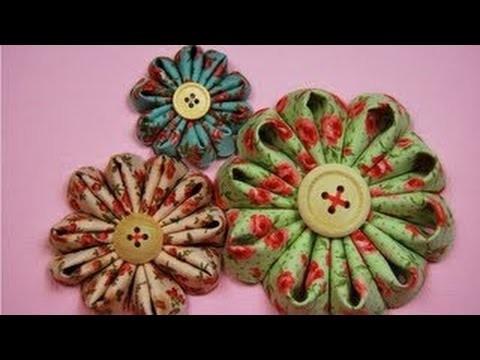 How to make a kanzashi flower fabric.Tutorial