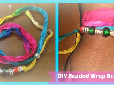 DIY: Beaded Wrap Bracelet.How to make beaded Fabric wrap bracelets