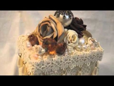 Altered Paper Mache Box with Handmade Roses