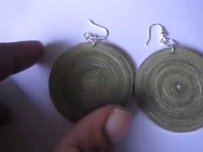 Handmade Jewelry - Paper Quilling Disk Earrings (Color Newspaper)