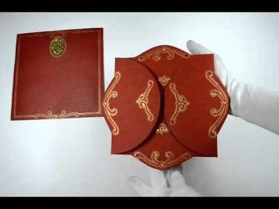 D-1241, Red Color, Handmade Paper, Odd Shape Cards, Hindu Cards, Hindu Wedding Cards